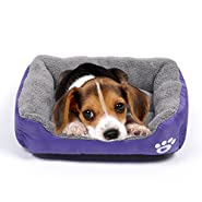 Pet Dog Bed, Washable Rectangular Pet Basket Bed, Durable and 100-Percent Waterproof and Fleece Lining Fit Most Pets