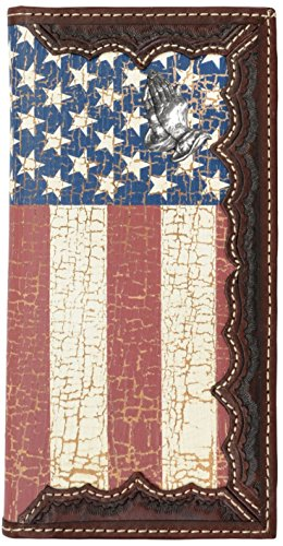 Flag Long Wallet - Custom Praying Hands, American Flag Long Wallet with Distressed United States Flag
