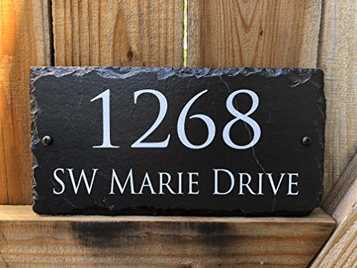 """Sassy Squirrel Handcrafted and Customizable Slate Home Address Plaque (12""""x6"""")"""