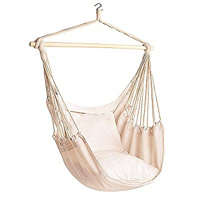 Bormart Hanging Rope Hammock Chair Large Cotton Weave Porch Swing