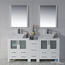 "BLOSSOM 001-72-01-D-1616V Sydney 72"" Double Vanity Set with Vessel Sinks and Mirrors Glossy White"
