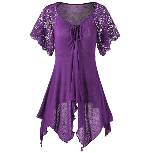 HGWXX7 Women's Solid Lace Short Sleeve Bandage Irregular Hem Blouse Mini Dress (XL, ()