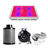 PrimeGarden 4 Inch Inline Fan Carbon Air Filter Ducting Combo + 600 watt Full Spectrum LED Grow Light Complete Kit for Hydroponics Indoor Grow Tent Ventilation System (LED600W+4'' Filter Combo)