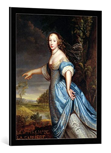 kunst für alle Framed Art Print: Pierre Mignard Portrait of Madame de la Sabliere - Decorative Fine Art Poster, Picture with Frame, 23.6x29.5 inch / 60x75 cm, Black/Edge ()