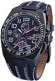 Time Force TF3121M14 - Reloj de caballero de cuarzo, correa de piel color negro