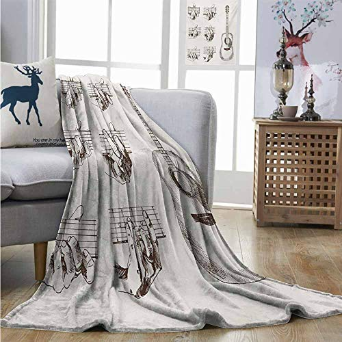 Homrkey Throw Blanket Guitar Sketch Art Style Instrument and Chords Acoustic Flamenco Technique Skill Talent Large Throw Blanket W54 xL84 Cream Brown (Taylor Swift The Best Day Guitar Chords)