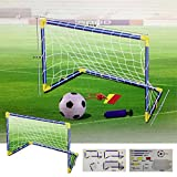 Denny International Kids/Children Football Goal Post Net Ball With Pump Whistle Toy Indoor/Outdoor Soccer (611 Twin)