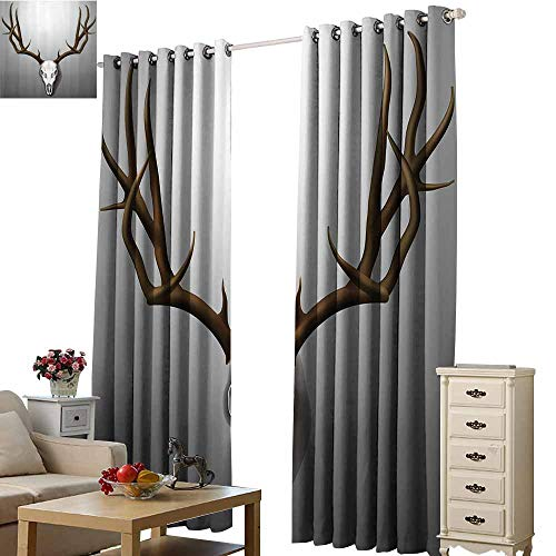 Beihai1Sun Black White Circle Blackout Curtains Antler Decor Realistic Deer Skull with Large Horns Elk Skeleton on Abstract Backdrop Brown White Grey Pink Color Dream Princess W72 x H45