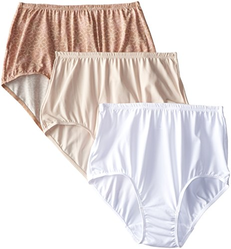 Olga Women's 3 Pack Without a Stitch Lace Brief Panty, Natural Cheetah Print/Wt/Btsch,10 - Olga Womens Panty