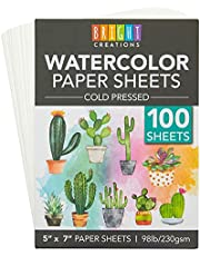 Cold Press Watercolor Paper, Bulk for Kids, Artists, Students (5x7 in, 100 Sheets)