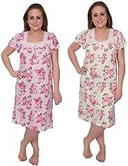 Beverly Rock Women's Short Sleeve Floral Print Cotton Blend Knit Night