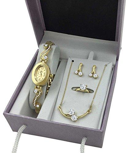 Gold Watch Jewelry Wishbone Christmas Gift Set Women Her Girlfriend Wife Sister Daughter Birthday