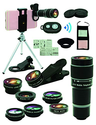 Cell Phone Camera Lens Kit,11 in 1 Universal 20x Zoom Telephoto Lens,0.63Wide Angle+15X Macro+198°Fisheye+2X Telephoto+Kaleidoscope+CPL/Starlight/Eyemask/Tripod/Remote,for Most Smartphone - Phone Mobile Macro Lens