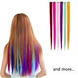 EQLEF® 12 pieces Multi-Colors Party Highlight Clip on in Hair Fashion Beauty Salon Supply Straight Wigs For Women