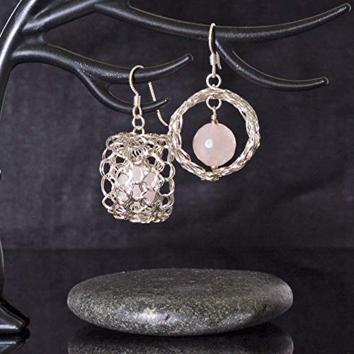 Rose Quartz Earrings in Sterling Silver Handmade Wire Crochet 3D Circle Pink Filigree - Quartz Filigree Rose Earrings