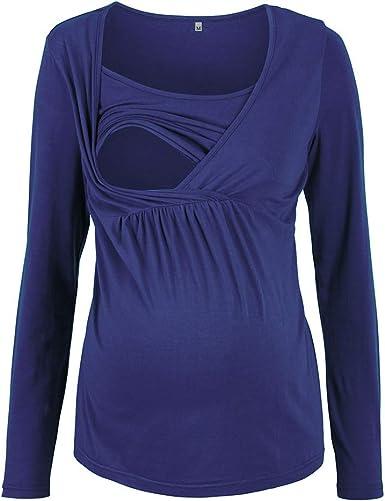 WEIMEITE Camiseta Maternidad Capa Doble Mujer Embarazada Camiseta Blusa Capa Lactancia Camiseta Camisa Maternidad Camiseta Manga Larga