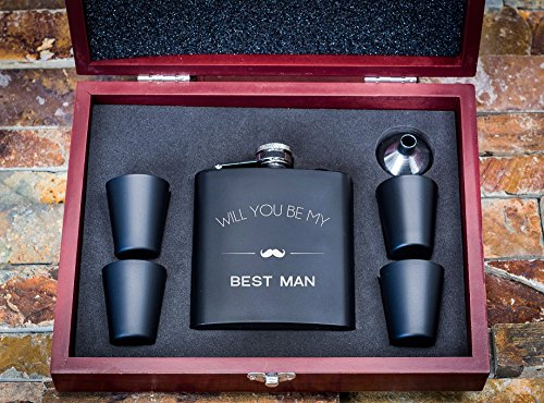 Will You Be My Best Man Wooden Gift Box Flask Set- Best Man Proposal Boxes- Gifts For Men, Whiskey Flasks - Extra Thick 5mil #304 Stainless Steel, Laser Engraved Design, Leak Proof Bestman FSK12