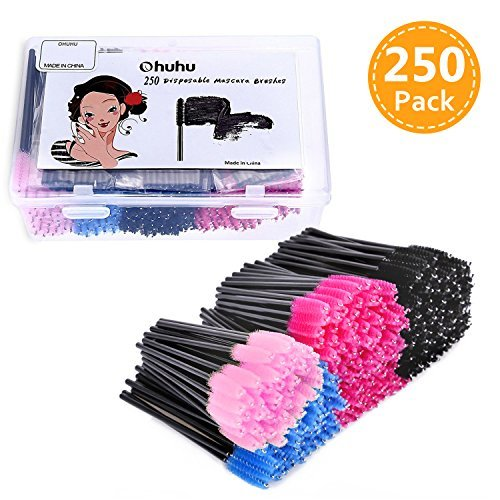Eye Lash Brushes, Ohuhu 250 Pcs Disposable Mascara Makeup Eyebrow Eyelash Wands Brush Applicator with Storage Box for Girls Women Gifts