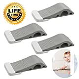 Door Stopper Heavy Duty Door Stop Wedge Premium Rubber Door Stops Pack of 4 for Home and Office Works on All Floor Surfaces Prevent Lock-Outs Grey with Free Bonus Holders