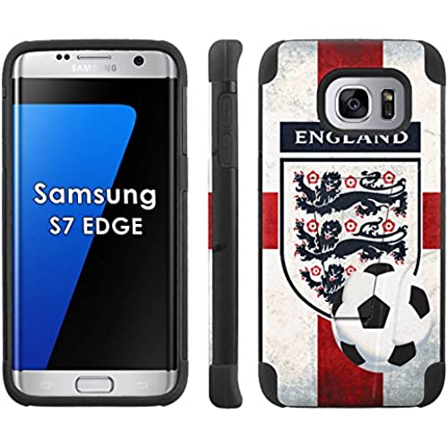 Samsung Galaxy S7 Edge /GS7 EDGE Phone Cover, United Kingdom Flag with Soccer Ball - Black Armor Kick Flip Grip Sales