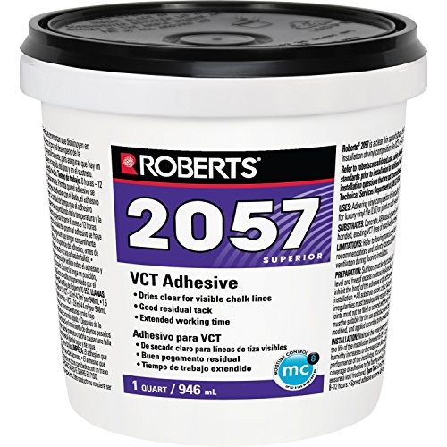 Roberts 2057-0 Adheres Vinyl-Composition & Vinyl-Asphalt Structurally Sound Plywood of Underlayment Quality Tile Glue, 1 Quart