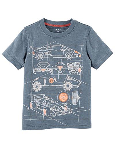 Carter's Boys' 2T-8 Short Sleeve Tee (4-5, Grey/Race Car)