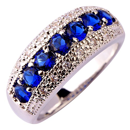 (Veunora Jewelry 925 Sterling Silver Plated Exquisite Sapphire Quartz Gemstone Jewelry Ring for Women Size 6)