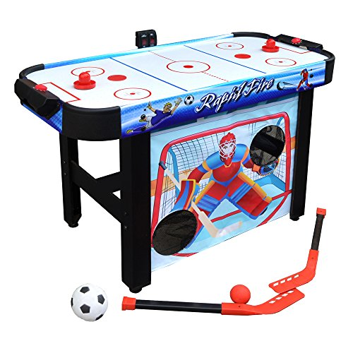 (Hathaway Rapid Fire 42-in 3-in-1 Air Hockey Multi-Game Table with Soccer and Hockey Target Nets for Kids)