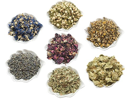 PEPPERLONELY Kosher Certified Botanical Dried Edible Flowers Lavender, Rose Buds & Petals, Jasmine, Chamomile, Cornflowers for Herb Tea, Soap Making, and Bath Bombs ()