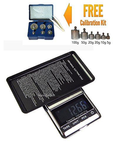 Mini Digital LCD Jewelry Pocket GRAM Scale, 0.5KG Max Capacity - 500 X 0.01 G + Free Calibration Weight Kit - Class (Weights 500 Digital Pocket Scale)