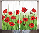 Poppy Decor Curtains Grass Flowers Butterfly Floral Decorating Summer Park Greenland Artwork Living Room Bedroom Decor 2 Panel Set