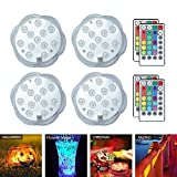 AOLVO Submersible LED Lights, Underwater Lights with Remote, Battery Operated Under Water Fountain Decorative Lights for Swimming Pool,Fish Bowl,Vase,Holloween Christmas Pond,Wedding Party (4pcs)