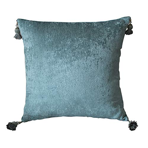 - Fancy Homi Pack of 1,Decorative Throw Pillow Covers, Fabric Woven Thick Pillowcase with Tassels, for Sofa Bedroom Car Office,18 x 18 Inch 45 x 45 cm (Light Blue)