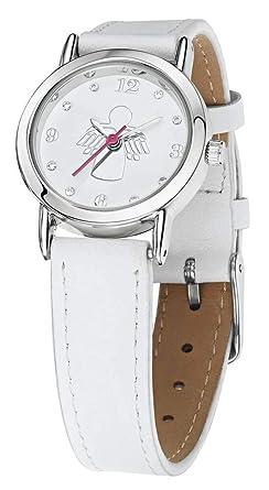Mon-bijou - fdj019 - Reloj ángel guardián Primera Comunión en Piel Color Blanco: Amazon.es: Relojes