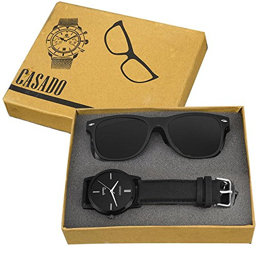 CASADO Ultra Black Slim Watch and Matte Black Sunglass 168x1