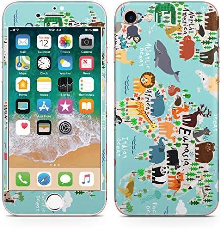 igsticker iPhone SE 2020 iPhone8 iPhone7 専用 スキンシール 全面スキンシール フル 背面 側面 正面 液晶 ステッカー 保護シール 014139 世界地図 動物