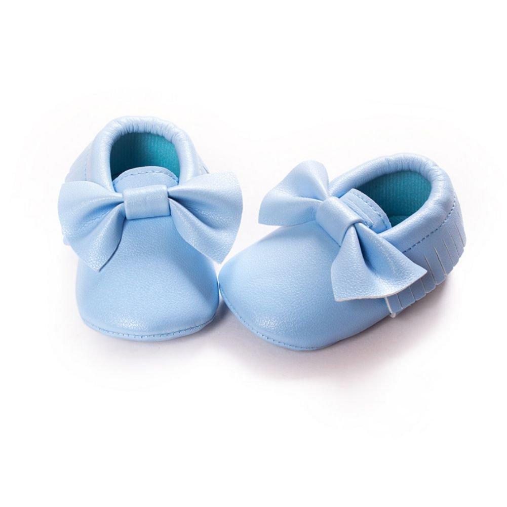 BOBORA Baby Boys Girls Tassel Bowknots Soft Soled PU Moccasins Crib Shoes