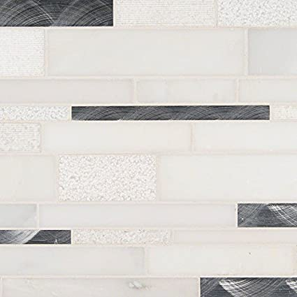 X Moderno Blanco Interlocking Pattern Mm Glass Stone Metal - 12x18 floor tile