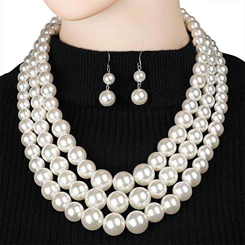 - 7 COLOR WINGS Women's Simulated Faux Three Multi-Strand Pearl Statement Necklace and Earrings Set (White)
