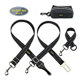 Idepet Pack of 2 Adjustable Pet Dog Car Seat Belts Safety Leads with Seatbelt Clip and Latch Bar Attachment,Vehicle Seatbelt Harness with Tangle Free Swivel Attachment, Fit for All Vehicle