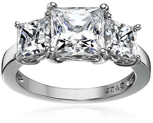 Platinum-Plated Sterling Silver Princess-Cut 3-Stone Ring made with Swarovski Zirconia (3 cttw), Size -