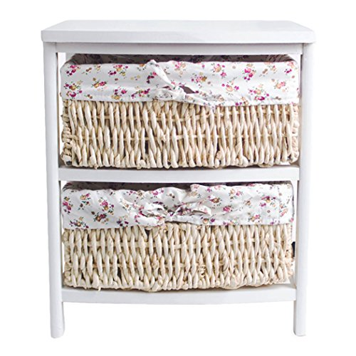 Asunflower Wooden Drawer Storage Unit, 2-Tier Nightstand with Woven Hamper Basket For Bedroom