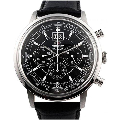Orient Men's 45mm Black Leather Band Steel Case Quartz Analog Watch FTV02003B0 (Orient Quartz Chronograph)