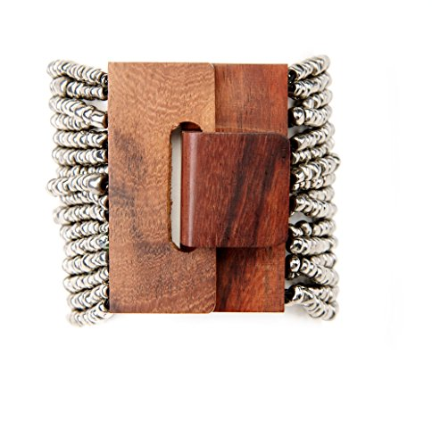 wood-buckle-clasp-cuff-bracelet-with-granite-glass-beads