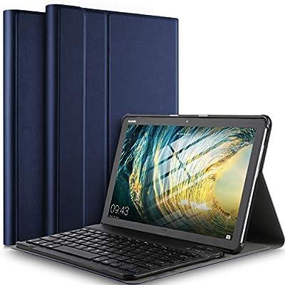 IVSO Teclado Estuche para Huawei MediaPad M5 Lite 10 (QWERTY English), Slim Stand Funda con Removible Wireless Teclado para Huawei MediaPad M5 Lite 10.1 Pulgadas, Azul: Amazon.es: Electrónica