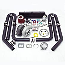 Universal High Performance Upgrade GT45 T4 11pc Turbo Kit (Black Intercooler / Black Pipping)