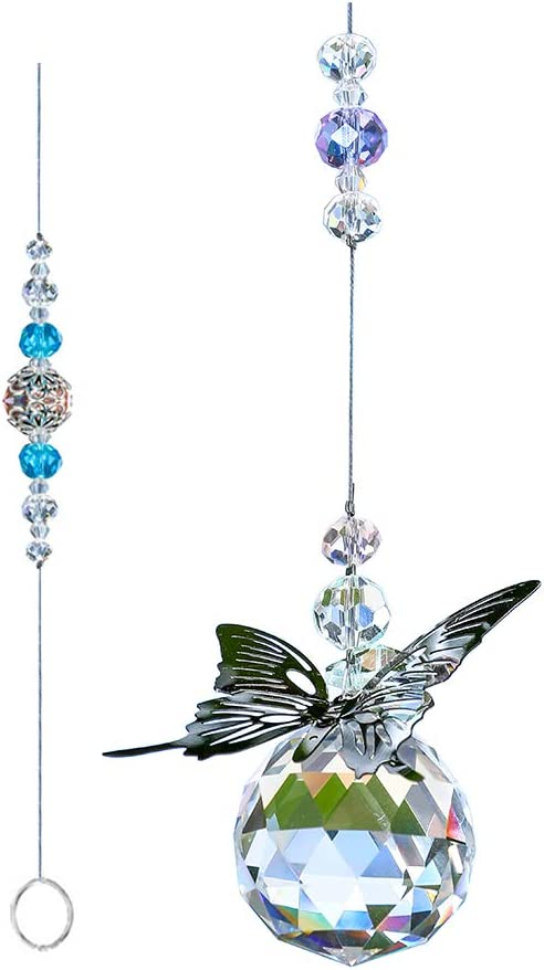 WEISIPU Crystal Hanging Decorations - Hanging Ornament Crystals Butterfly Suncatchers with Clear Crystal Ball for Home, Office, Garden Decoration, Window Decorations Hanging