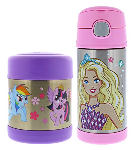 Thermos FUNtainer Vacuum Insulated Stainless Steel 10oz Food Jar & 12oz Water Bottle w/Straw Set - Tasteless and Odorless, BPA Free, Great for Children, Lunchbag, Travel-My Little Pony & Barbie