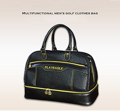 PLAYEAGLE Weave Waterproof Large Capacity Golf Boston Bag PU Leather Travel Duffel Bag with Shoe Layer by PLAYEAGLE (Image #3)
