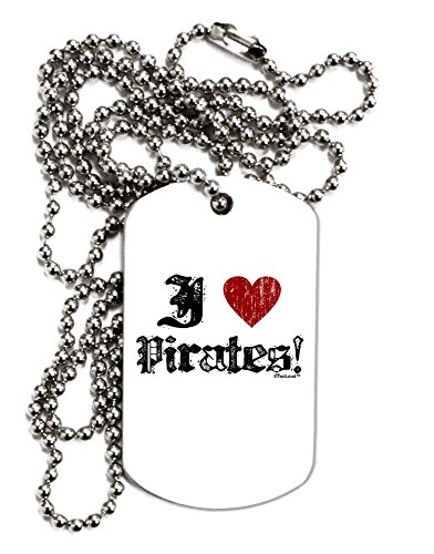 [TooLoud I Heart Pirates Adult Dog Tag Chain Necklace - 12 Pieces] (Somali Pirate Costume)